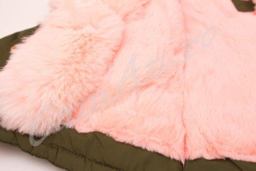 geaca parka cu blana roz
