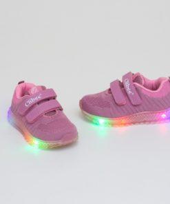 adidasi fuchsia din panza cu led pentru copii