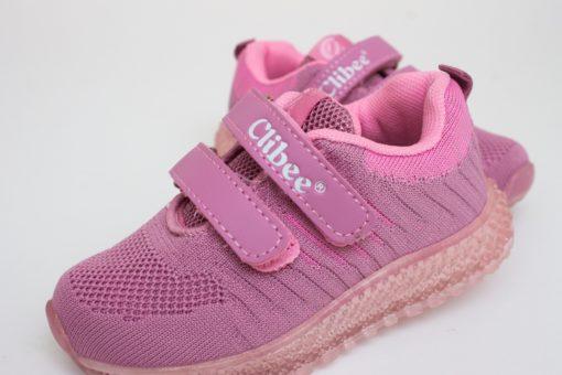 adidasi roz din panza cu led pentru copii