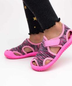 sandale copii - roz din panza cu arici
