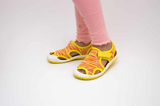 sandale galbene pentru copii - panza