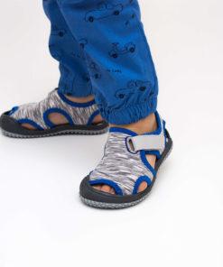 sandale gri din panza pentru baieti
