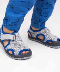 sandale gri din panza pentru baieti 1