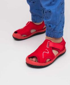 sandale rosii din panza pentru copii