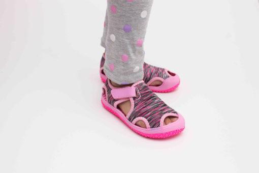 sandale roz din panza cu arici pentru copii