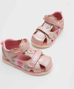 sandale roz din piele pentru copii