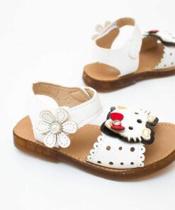 sandale albe pentru fetite