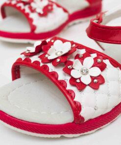 sandale rosii cu floricele