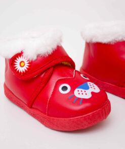 ghete rosii cu blana pentru copii